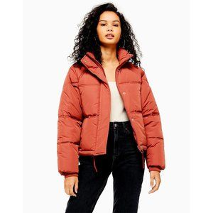 NEW Topshop Rose Padded Puffer Coat Jacket Rust 2
